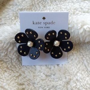 NWT Kate Spade Navy Blooming Bling Flower Earrings